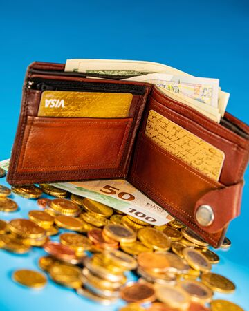 Handmade purse with paper banknotes, credit cards and coins on a blue background. Business concept.