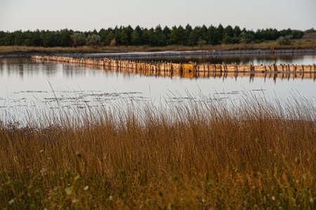 Salt evaporation lake shores. An industrial salt plant produces - natural sea salt. Salt is extracted by step-by-step natural evaporation. Village Geroyskoe, Kherson region. Ukraine.