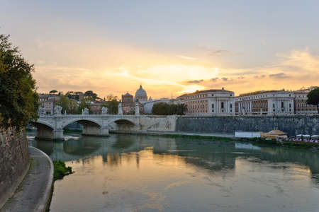 Vittorio Emanuele II Bridge over the Tiberis River in Rome, Italy photo