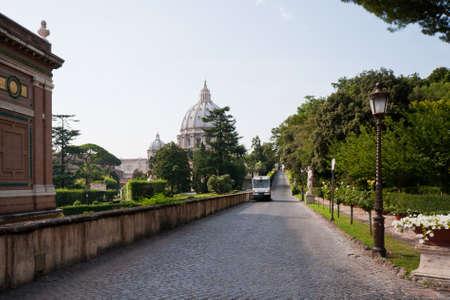 basillica: Beautiful walk in Vatican gardens in Rome, Italy Stock Photo