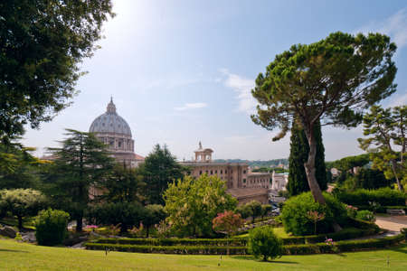 peters: View at the St Peters Basillica from the Vatican Gardens