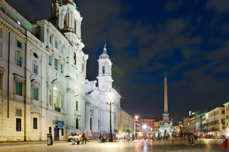 Night view at the Navona square in Rome, Italy photo