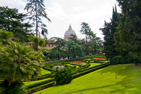 basillica: View at the St Peters Basillica from the Vatican Gardens