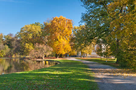 nymphenburg palace: Beautiful pond in the autumn park Nymphenburg in Munich, Germany