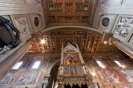 View at the San Giovanni in Laterano Basilica ceil, Rome, Italy
