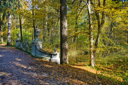 nymphenburg palace: Beautiful peaceful walk in the autumn park Stock Photo