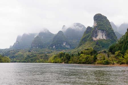 xing: View at the Famous Avatar Mountains near the LiJiang river, Guanxi, China