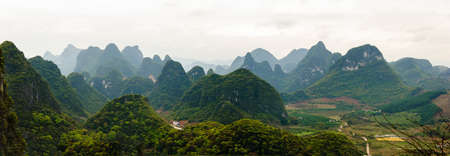 moutains: Panoramic view at the famous Avatar Moutains, Guanxi, China Stock Photo