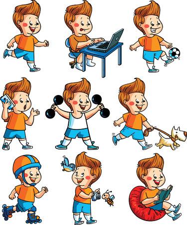 favourite: Happy boy hobby Illustration