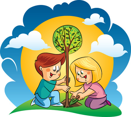 Vector happy children planting a tree