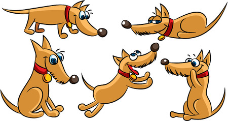 Happy dog cartoon playing Vectores