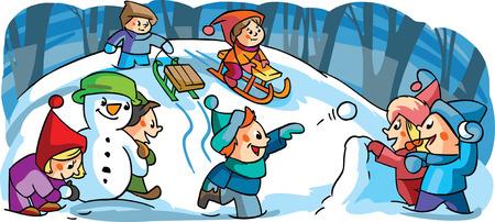 palle di neve: Bambini che giocano i giochi invernali Vettoriali
