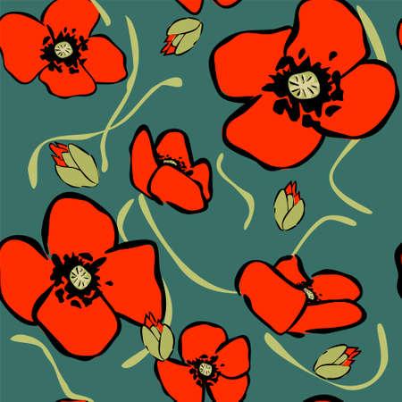 poppy pattern: vector poppy pattern Illustration