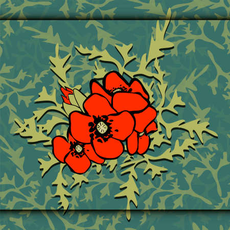 grass weave: Poppies Easily editable vector image abstract vector eps 10 handmade