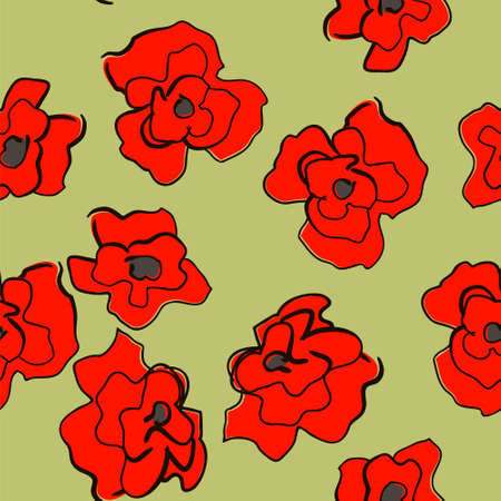 easily: seamless bright ornament with poppies easily editable vector image