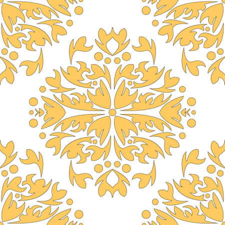 Damascus seamless pattern of floral ornament wallpaper background in vintage style