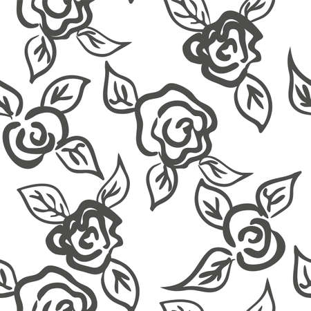 Vector seamless patern graphic roses on a background.