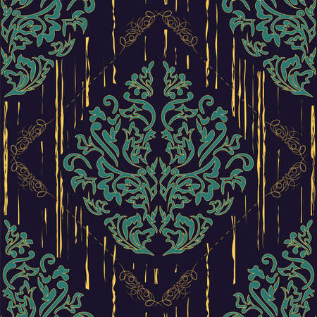 Patrón de papel tapiz transparente de Damasco. Ilustración de vector.