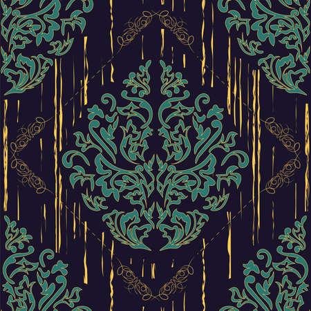 Seamless Damascus wallpaper pattern. Vector illustration. Ilustração