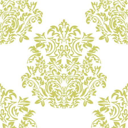 Seamless floral Damascus wallpaper pattern. Vector illustration. Ilustração