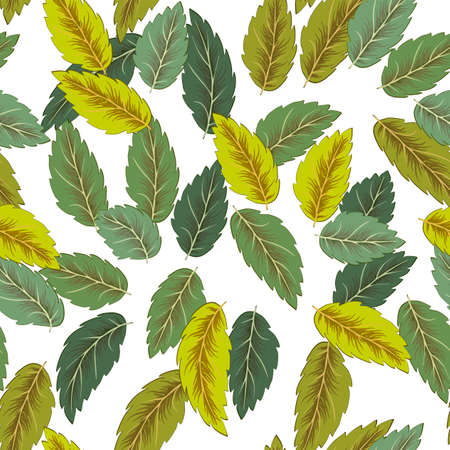 Flying green leaves on white background. Fresh spring foliage. Vector illustration. Environment and ecology backdrop