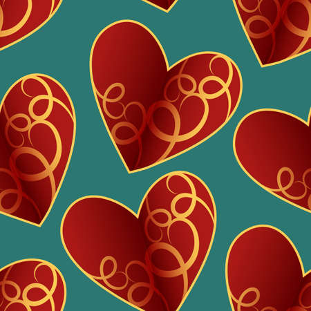 A seamless vector pattern featuring repeating hearts. This romantic texture would be ideal for use as a textile design or wrapping paper. Illustration