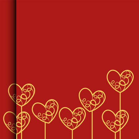 Valentines day , Illustration of love , Picture of red heart , paper art style.