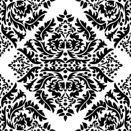 Carta da parati damascata. Uno sfondo vettoriale senza soluzione di continuità. Trama in bianco e nero. Ornamento floreale Vettoriali