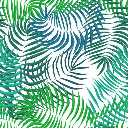Foglie di palma estate senza giunte di vettore su sfondo bianco Vettoriali
