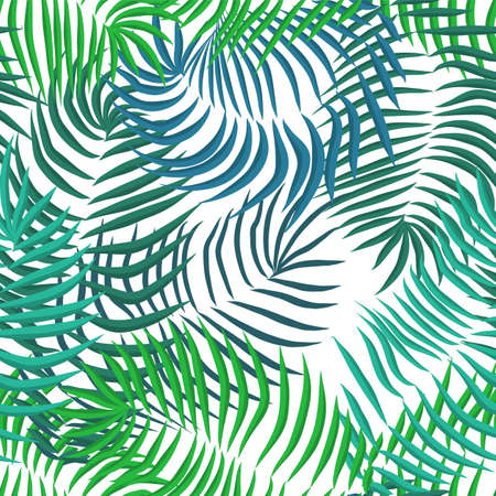 Vector seamless summer palm leaves on white background Ilustração Vetorial