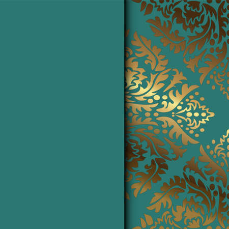 Vector vintage floral decorative background for design invitation card, booklet, print. Gold and green