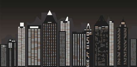 Night cityscape against the background of the night sky. A long city street with lights on. Vector illustration Ilustração