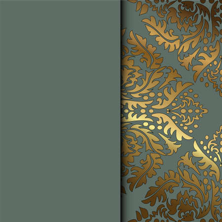 Vector vintage floral decorative background for design invitation card, booklet, print. Gold and gray