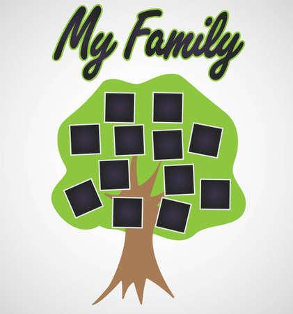 Family Tree template vintage vector illustration Vettoriali