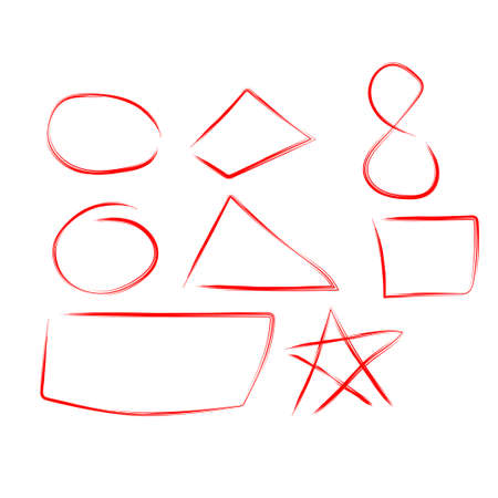 Figures draw set, design elements of highlighting, red marker isolated on white background, vector illustration