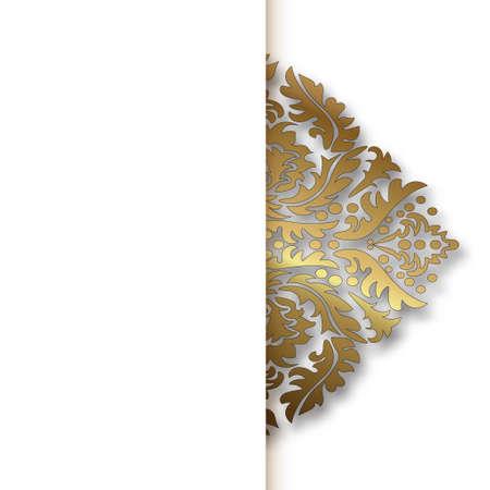 white vector Damask vintage golden pattern Vector Illustration