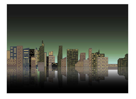 Night cityscape against the background of the night sky. A long city street with lights on. Vector illustration Stock Illustratie