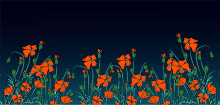 Landscape With Grass And Poppy, Vector Illustration