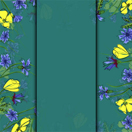 vector illustration of California state yellow poppies