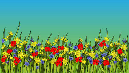 Summer bright background with dandelion and poppies