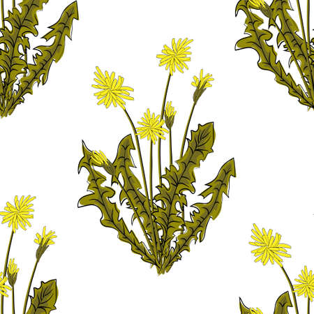 seamless pattern. Flying of dandelion seeds. Stylish repeating texture. vector Çizim