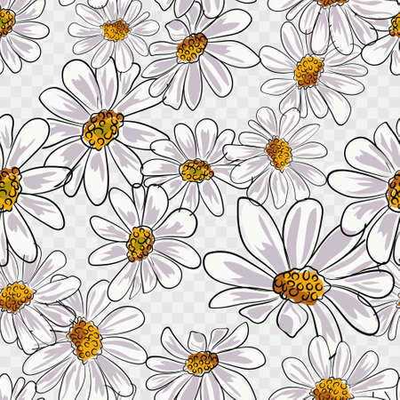 Chamomile seamless pattern vector illustration eps 10.