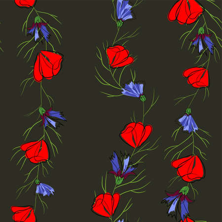 Seamless pattern of red poppies and cornflowers. Illustration on black background
