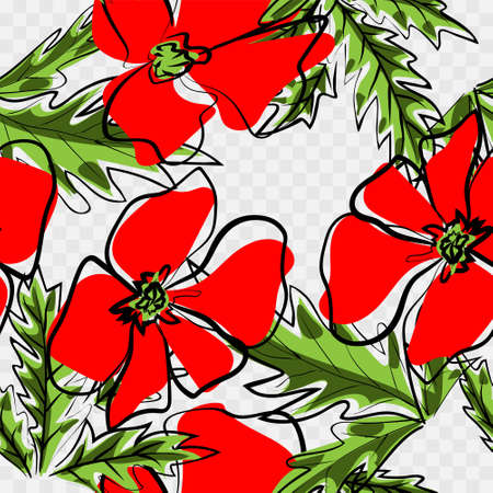 Colorful hand drawn poppies, flowers seamless pattern