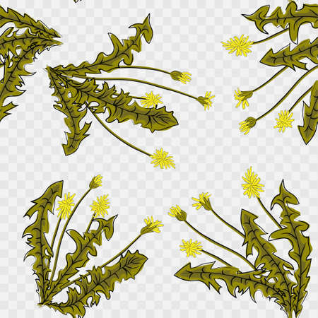 seamless pattern. Flying of dandelion seeds. Stylish repeating texture. vector Illustration