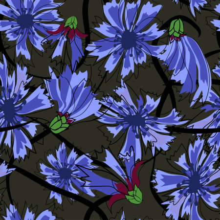 Cornflowers seamless pattern. Illustration on black background