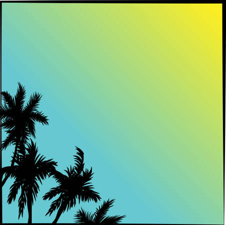 Tropical coconut palm tree silhouettes illustration over a blue sky sky in vector format