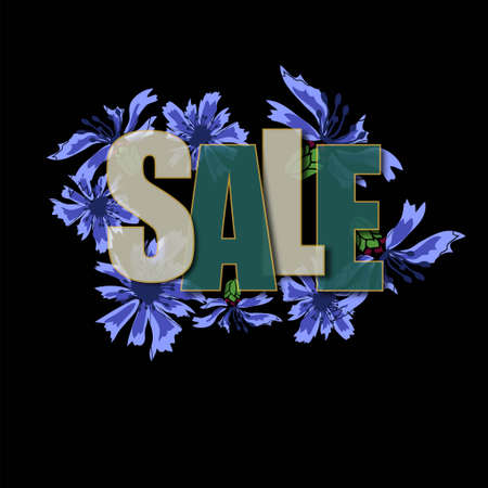 Modern abstract flyer with inscription sale cornflowers on black background