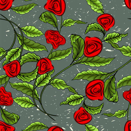 A branch with leaves and red roses on a green background. Seamless pattern