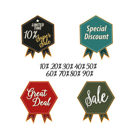 Price tags label with sale and discount text in different shapes for end of season store promotion. Vector illustration Illustration